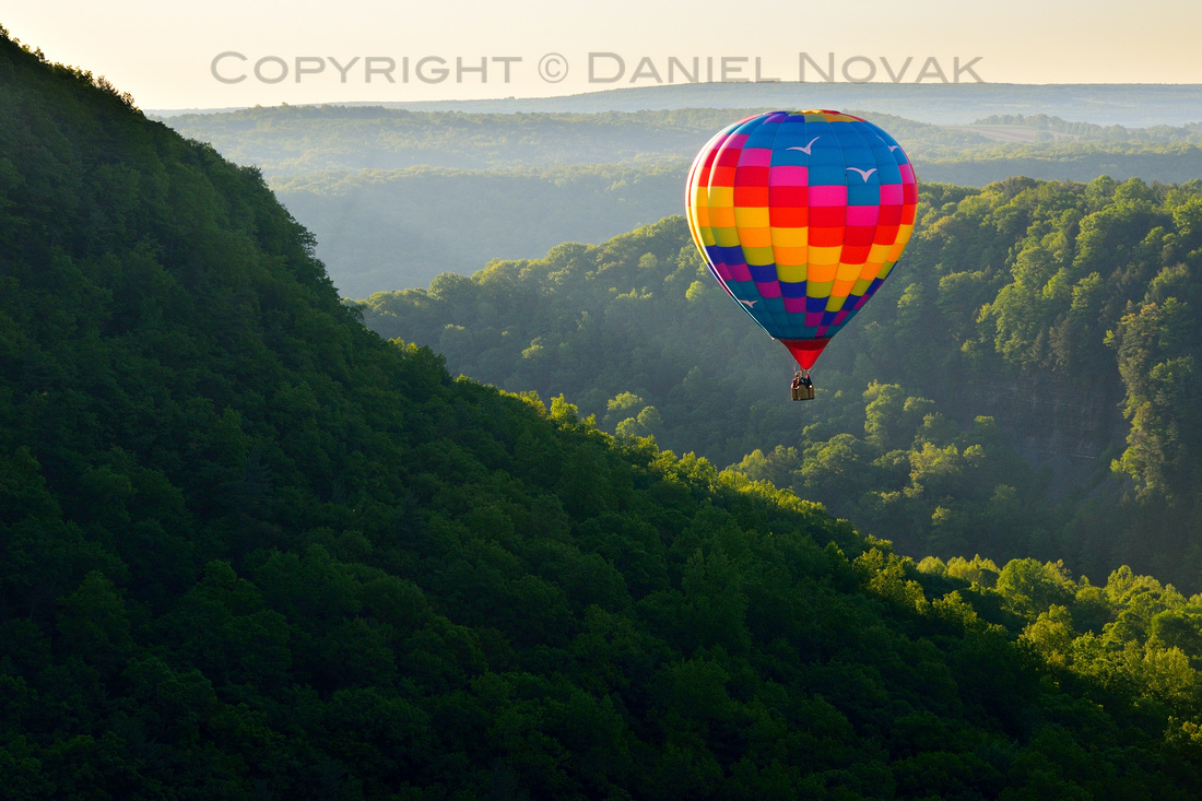 Annual Red, White & Blue Balloon Rally, Memorial Day Weekend, Letchworth State Park, Western New York. Hot Air Balloon over Great Bend.