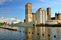 English River Cargo Ship on Buffalo River by GLF Grain Elevator - Riverworks, Buffalo, New York (NY)