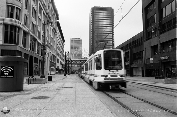 Buffalo Metro Rail on Lafayette Square, Nikon FE, Ilford Delta 100 Film