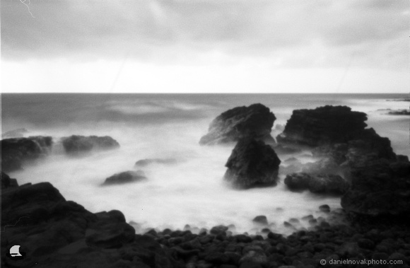 Shipwreck Beach, Kauai, Hawaii, Zero Image 35mm Pinhole Camera, Ilford PANF Plus 50 Black & White Film