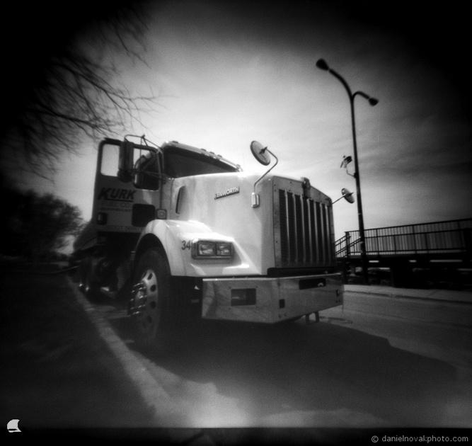 Refueling Truck, Pinhole Photography, terraPIN ACME, Fuji Acros 100