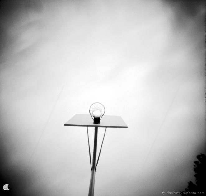 Basketball Hoop, Pinhole Photography, terraPIN ACME, Kodak T-Max 100