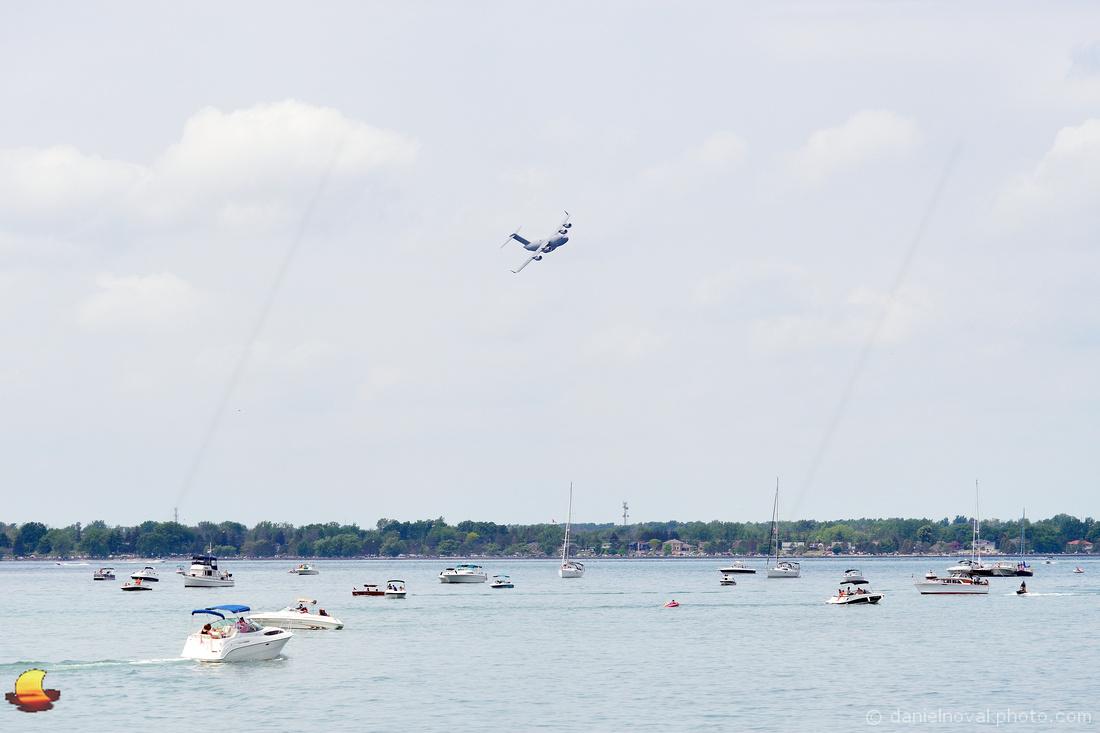 USAF Boeing C-17 Globemaster over Buffalo Waterfront