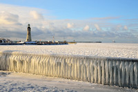 Sunny not Warm, frozen winter wonderland at Erie Basin Marina, Buffalo, NY