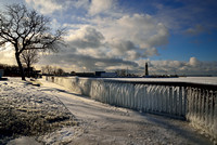 Frozen Winter Artwork, Erie Basin Marina & Lighthouse, Buffalo, NY