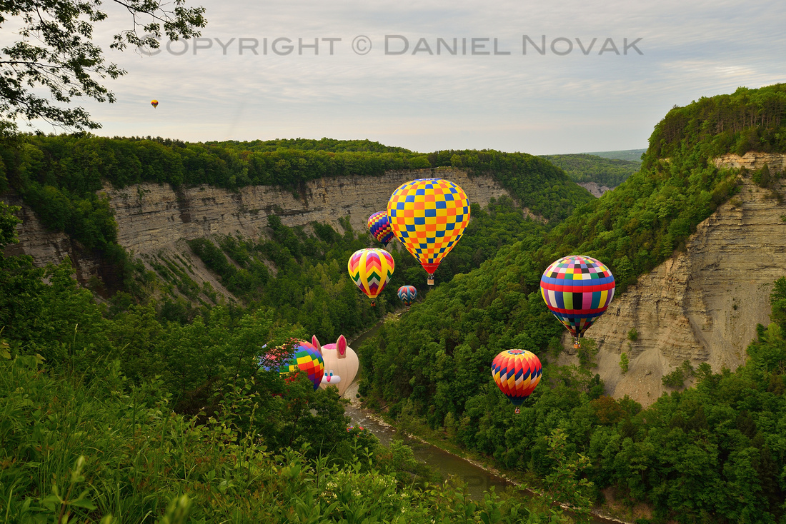 Balloon Crowd at the Gorge at the annual Red, White, and Blue Hot Air Balloon Festival in Letchworth State Park, 2018