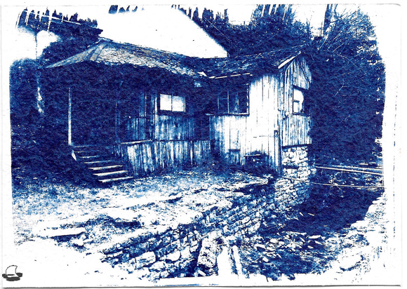 Old House Cyanotype, Exposed, developed in water, cleared in diluted white vinegar, re-washed, and dried