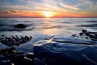 Boulders, Rocks, and Setting Sun, Lake Erie Sunset Photograph