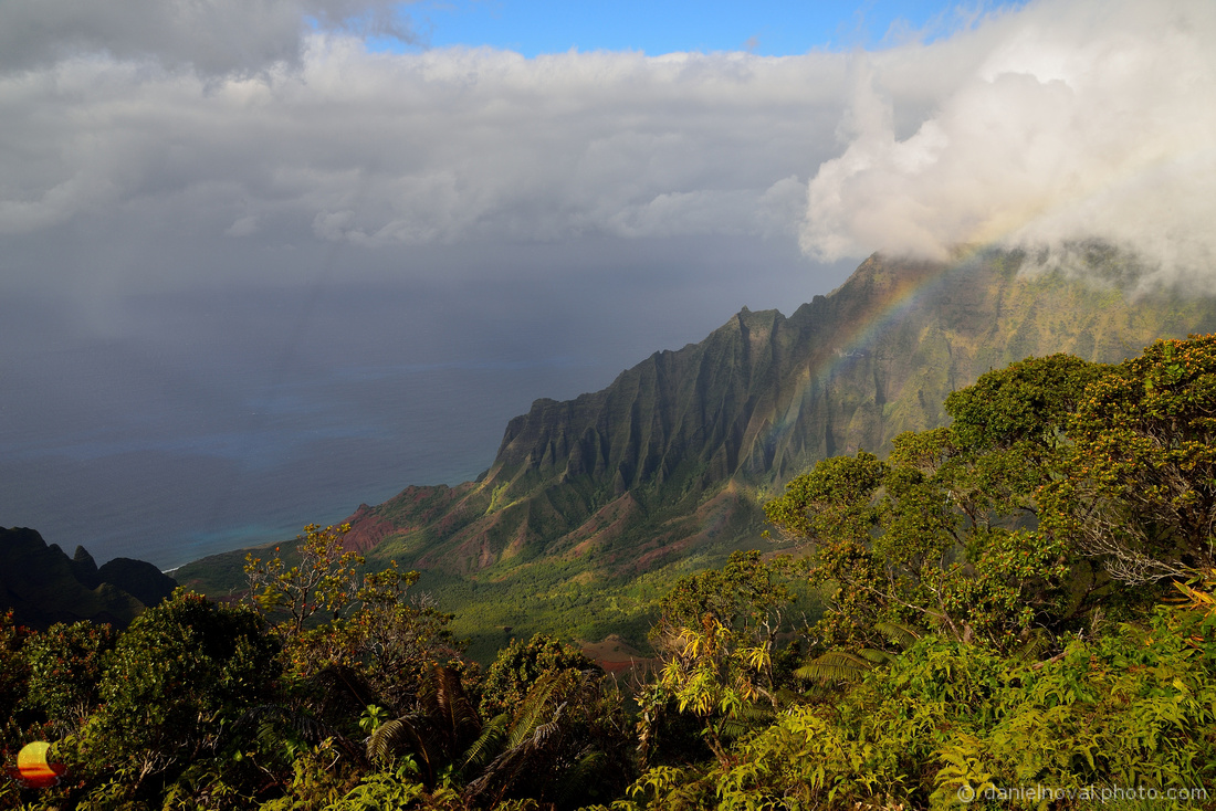 Rainbow over Kalalau Valley, Kauai, Hawaii