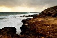 Seascapes - Lava & Water and a Leaving Storm, Kauai, Hawaii