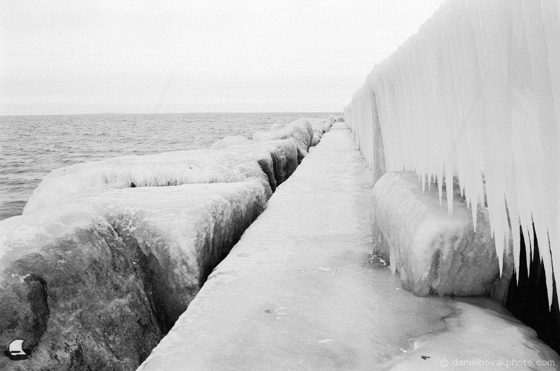 Icy Pier, Winter at Sturgeon Point, Lake Erie Shore