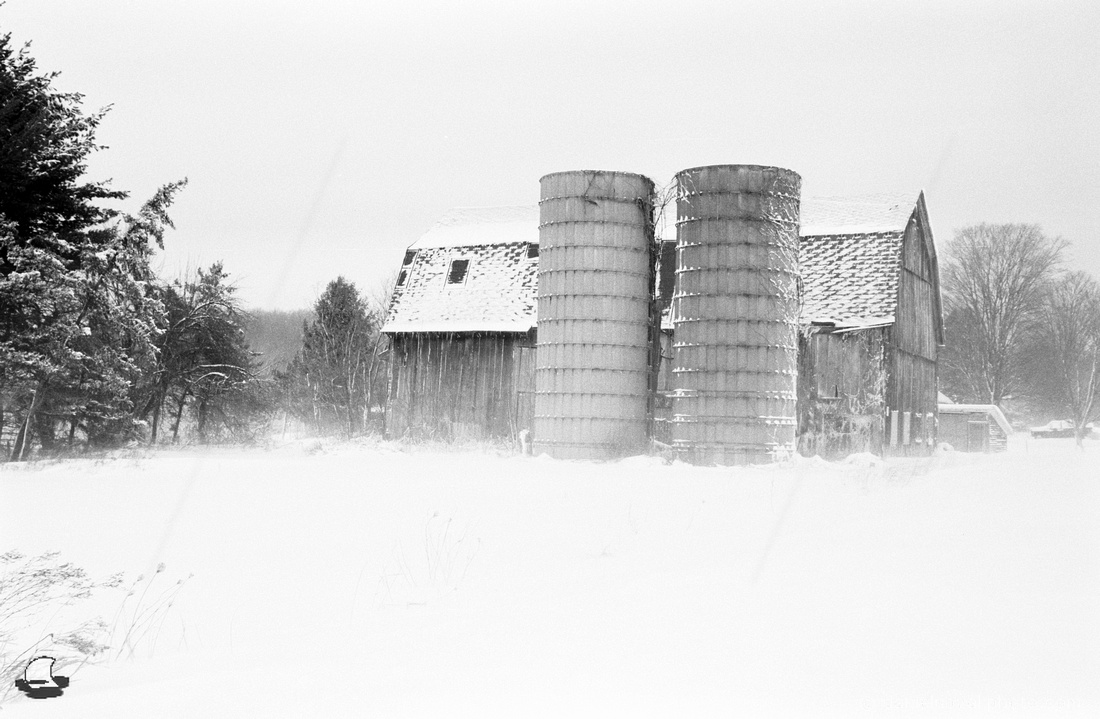 Barn and Silos in White, a typical winter day in Western New York