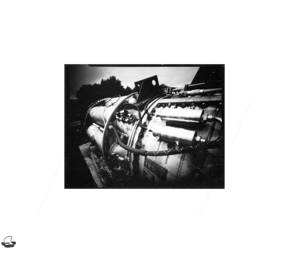 Engine, Lensless 4x5 wooden pinhole camera, Ilford Harman Direct Positive Paper