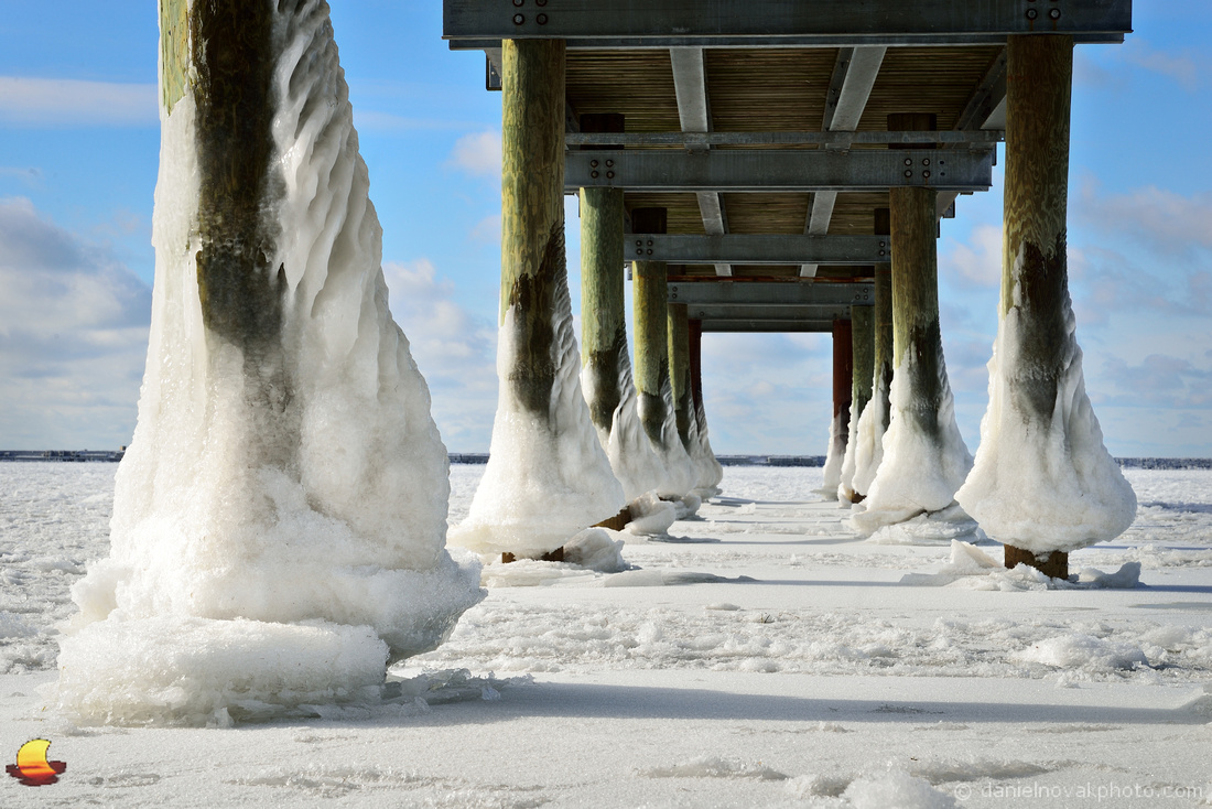 Frozen Gallagher Pier, Winter in Buffalo, NY