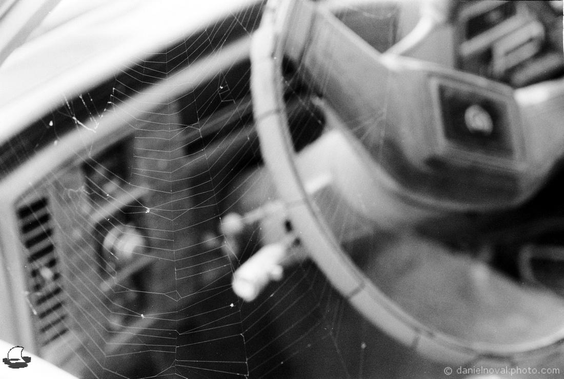 A Web in a Cadillac Close Up, Nikon FE2, Fomapan 400 Black & White Film