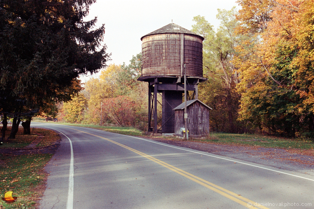 Old Water Tower in Western New York in the Fall with Nikon N75 on Kodak Portra 400 film