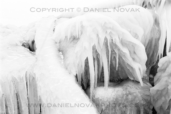 Icicle Formation, Lake Erie Shore in Winter, Sturgeon Point