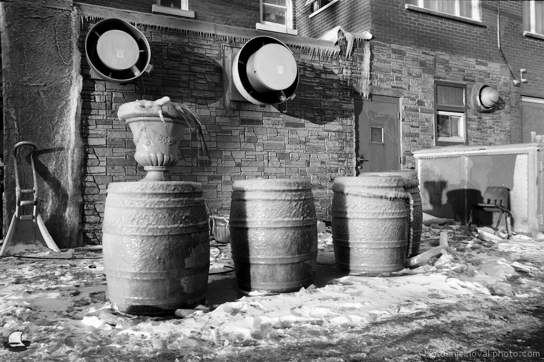 Three Barrels in Ice, Kingdom of Ice, Hamburg, NY. Photographed with a Nikon FE on Ilfod Delta 100 black and white film and developed in Kodak XTOL.