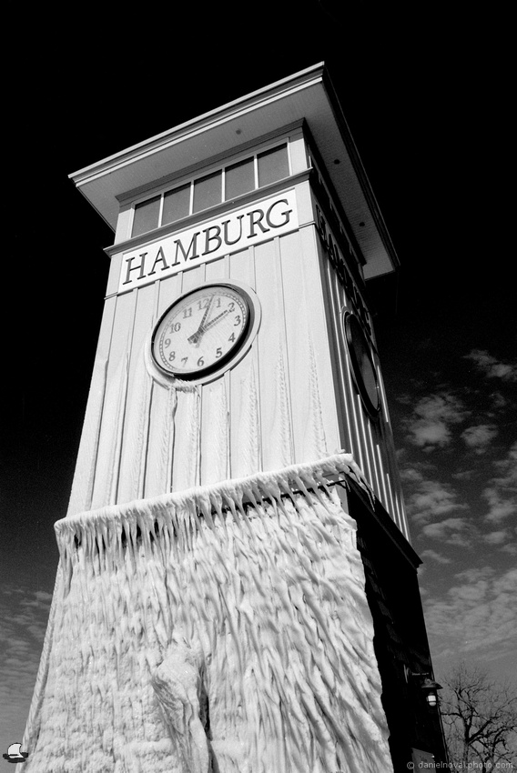 Hamburg Clock Tower, Kingdom of Ice, Hamburg, NY. Photographed with a Nikon FE on Ilfod Delta 100 black and white film and developed in Kodak XTOL.