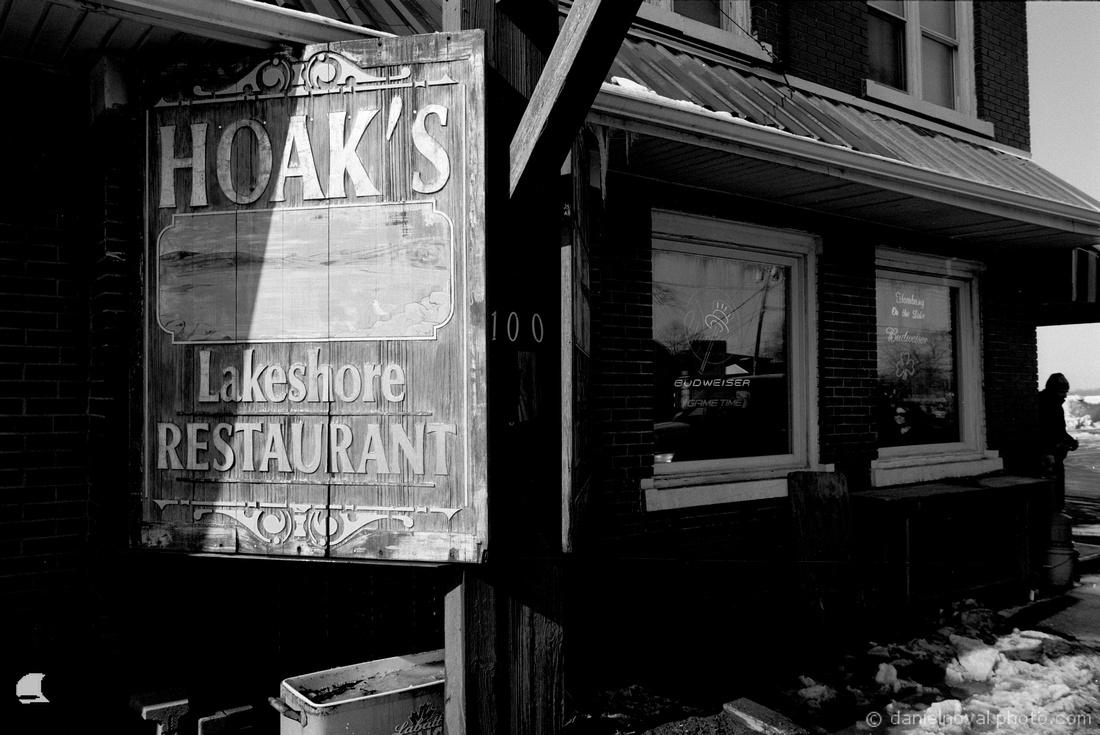 Hoak's Lakeshore Restaurant, Kingdom of Ice, Hamburg, NY. Photographed with a Nikon FE on Ilfod Delta 100 black and white film and developed in Kodak XTOL.