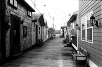 Down the Pier in Black & White, Boathouses of Canandaigua City Pier