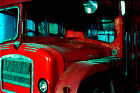 Night Route, a red London double-decker bus close-up, Buffalo, New York (NY)