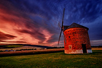 Chvalkovice Wind Mill at Dusk, rolling hills of Southern Moravia, Czech Republic, Europe.