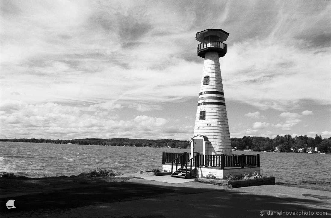 Celoron Lighthouse in Black & White near Jamestown, NY