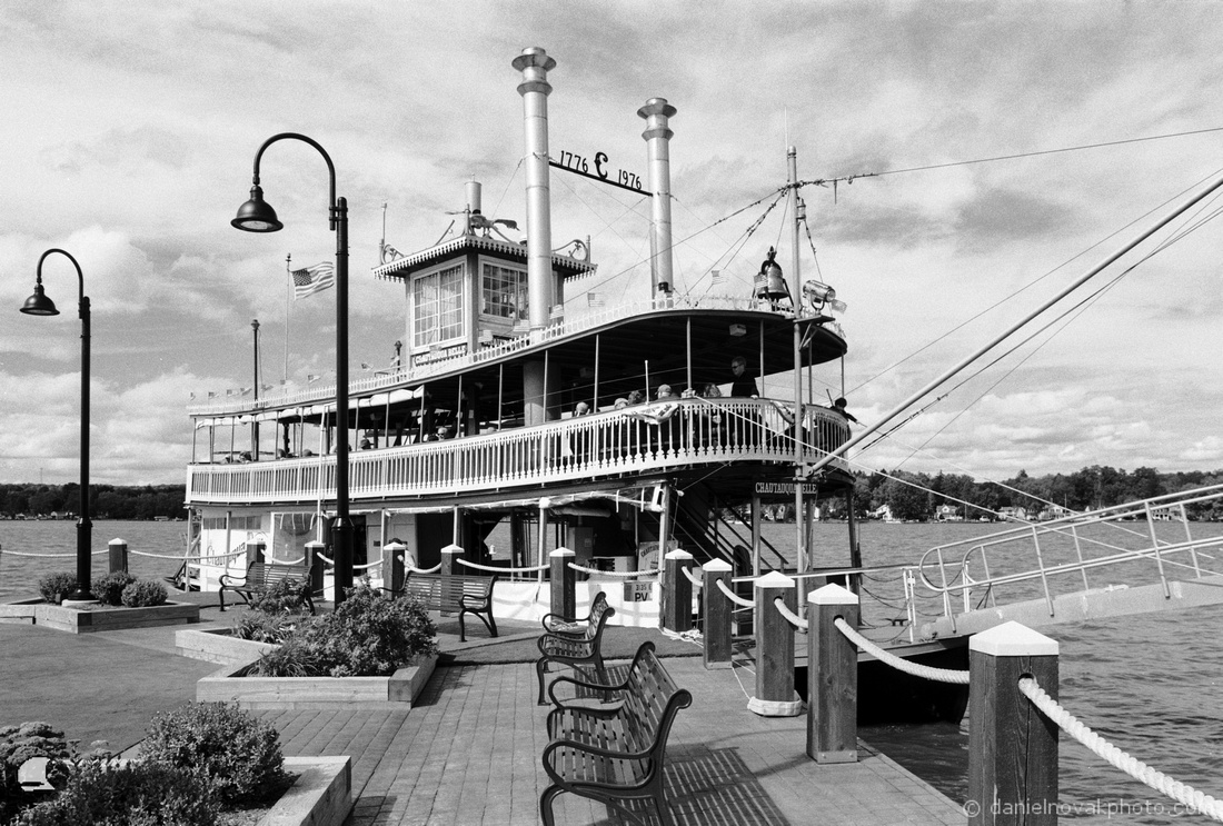 Chautauqua Belle Docked at the Chautauqua Harbor Hotel, Celoron, New York