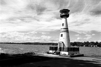 Celoron Lighthouse in Black & White near Jamestown, NY. Nikon FE and Ilford FP4 film.