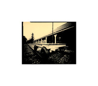 "Train Tracks by the Orchard Park Train Depot, Large Format Pinhole Photograph on 4x5"" Direct Positive Paper Stained in Coffee for a Vintage Look"