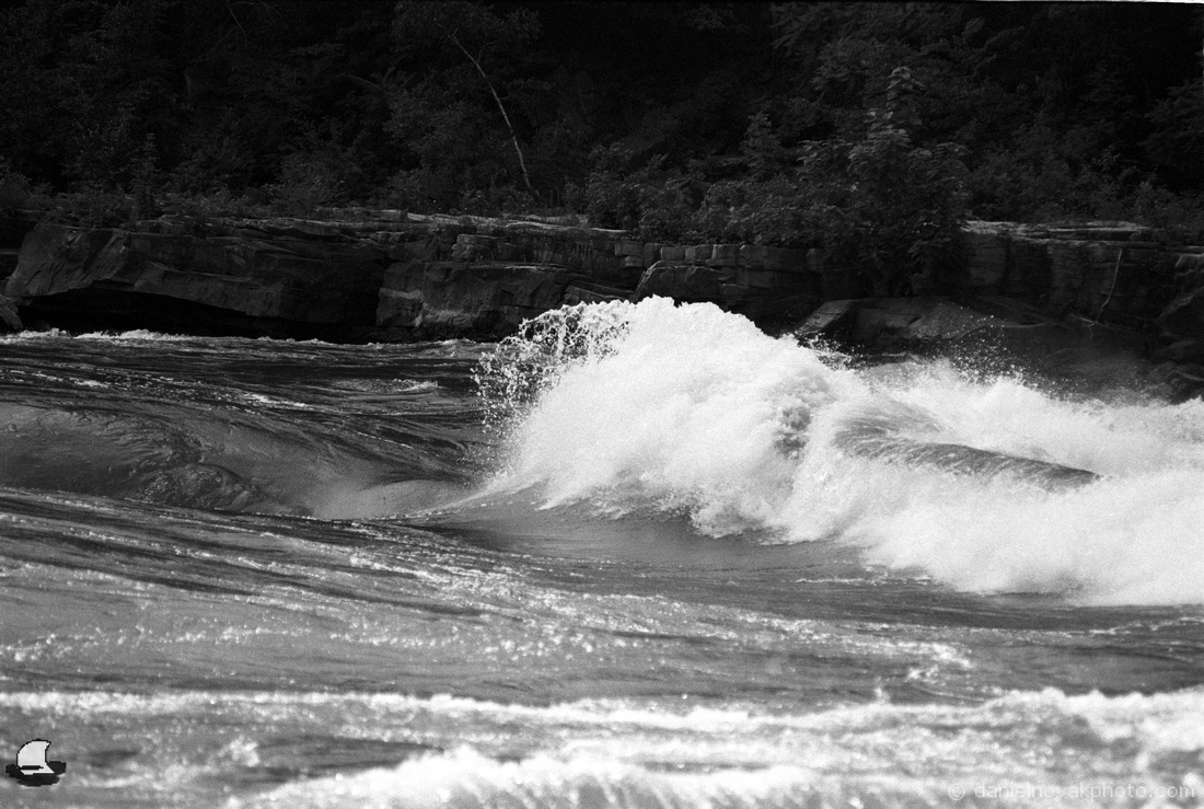 The Shore. Lower Niagara River Rapids, Nikon F4, Kodak Double-X 5222 Black and White Film