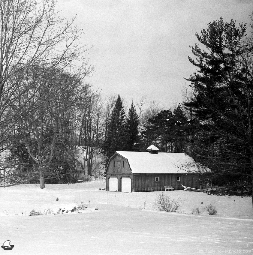 Beautiful Barn in Winter, Orchard Park, NY. Photographed with a Pentacon Six on Fomapan 400, developed in D-23.