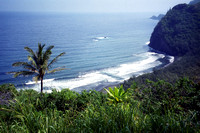 Pololu Valley Beach from high up, North Shore Big Island, Hawaii (HI).