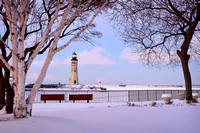 Season's Greetings from Buffalo Main Light - Lighthouse in Winter, Erie Basin Marina
