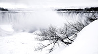 Horseshoe Falls in White, Winter at Niagara Falls, Southern Ontario, Canada.