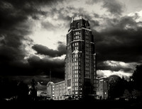 Stormy over Buffalo Central Terminal on a Black & White Photograph.