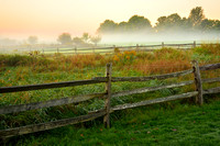 Foggy Meadows and Fences at Sunrise, Knox Farm, East Aurora - Buffalo, New York (NY)