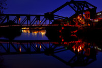 Blue NIght over Squaw Island Bridge, Robert Rich Way, Black Rock Canal, Buffalo, New York (NY).