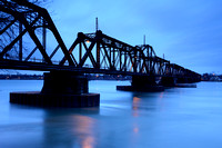 Morning Blues at the International Railway Bridge over Niagara River, Unity Island, Buffalo, NY