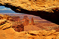 Daytime look through the Mesa Arch, Island in the Sky, Canyonlands National Park, Utah (UT).