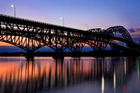 Reflected South Grand Island Bridge at Sunset, connecting Tonawanda, NY and Grand Island, NY over the Niagara River.