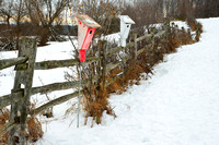 Knox Farm Birdhouses by Fence in Winter, East Aurora - Buffalo, New York (NY).