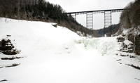 Frozen Winter Wonderland under Letchworth State Park's Upper Falls Trestle Bridge