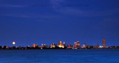 The skyline of Buffalo, NY under a Blue Moon of 2012