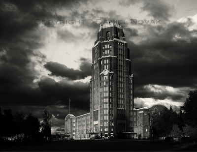 Stormy over Buffalo Central Terminal on a Black & White Photograph. Twelve Months, Twenty Photographs
