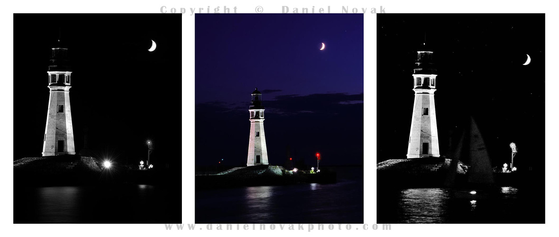 Buffalo Main Lighthouse & Crescent Moon Triptych. Waterfront, Inner Harbor, Buffalo, NY.