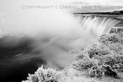 Frosty Horseshoe Falls, Large Matted and Framed Print, Ready to Hang