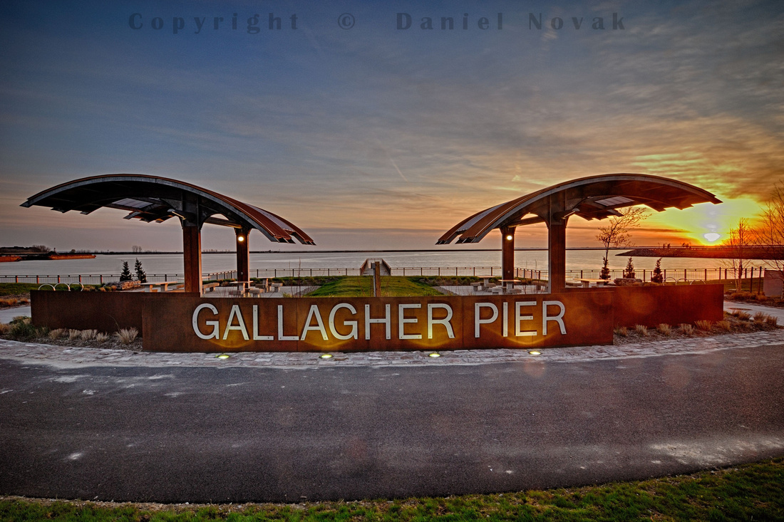 Traveling sunset observed at Gallagher Pier on April 29, Outer Harbor, Buffalo, New York (NY).