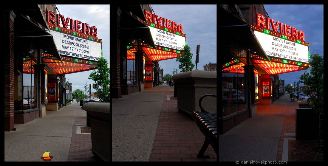Light Changes over Riviera, From daylight to blue hour over Riviera Theatre in North Tonawanda, NY.